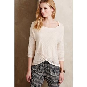 Anthropologie crossed pointelle pullover